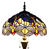 Tiffany Floor Lamp Standing Light W16 H64 Inch Green Yellow Dragonfly lampshade for Bedroom