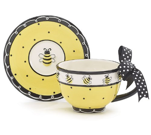 Whimsical Honey Bumble Bee Teacup and Saucer Set Adorable Set for Teas (Bee Bumble Dinnerware)