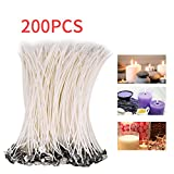 CLEYCYE Candle Wicks, Low Smoke 8inch Candle Wick - Pre-Waxed 200piece Natural Candle Wicks for DIY Candle Making