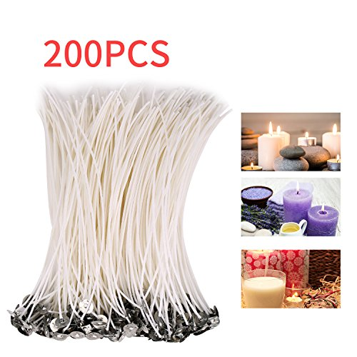 CLEYCYE Candle Wicks, Low Smoke 8inch Candle Wick – Pre-Waxed 200piece Natural Candle Wicks for DIY Candle Making