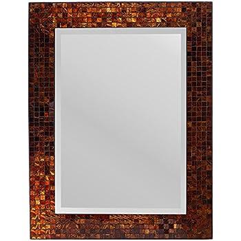 lulu decor decorative handmade amber rectangle mosaic beveled wall mirror frame measures 31 - Metal Mirror Frame