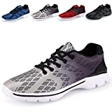Men's Lightweight Breathable Running Tennis Sneakers Casual Walking Shoes (US 10.5/EU 44, Grey)