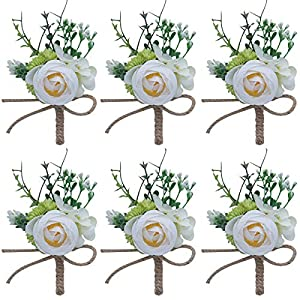 Faylapa 6 Pack Man's Boutonniere,Buttonholes Flowers with Pin Wedding Best Man Corsage Artificial Flowers 96