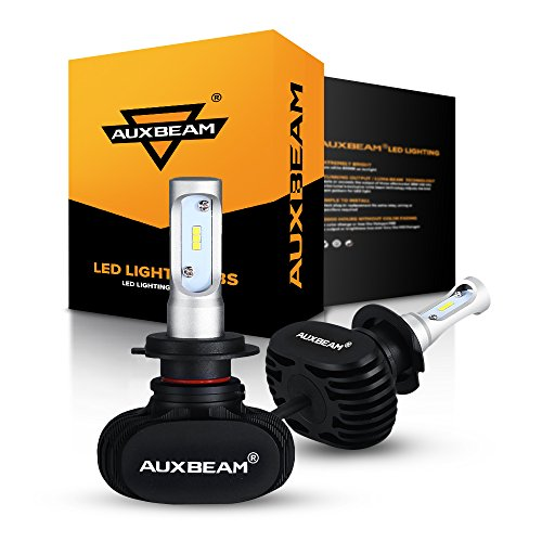 Auxbeam H7 LED Headlight Bulb NF-S1 Series 50W 8000lm 6000K White CSP LED Headlight Conversion Kit - 2 Year Warranty (White Headlight Plus Bulbs)