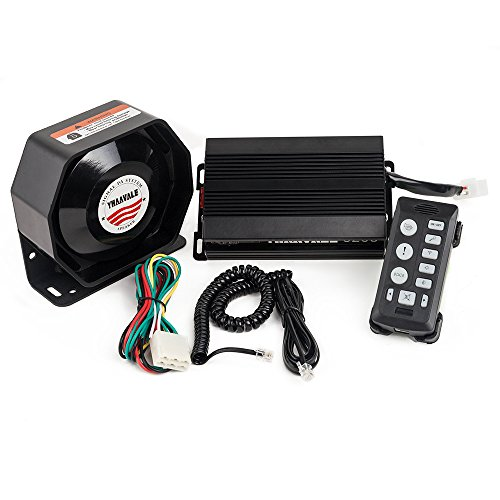 YHAAVALE 6203 Car Amplifier Police Siren & Metal Ultra Slime Octagon Flat Speaker,DC12V 100W Multi-Tones Handheld Remote Control with Mic Loudspeaker Emergency Electronic PA System