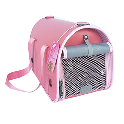 Pu Fashion Pet Carrier Foldable Shoulderbag (L(Length51cm Width22cm Height29cm), Pink) (Alex Carrier Dog)