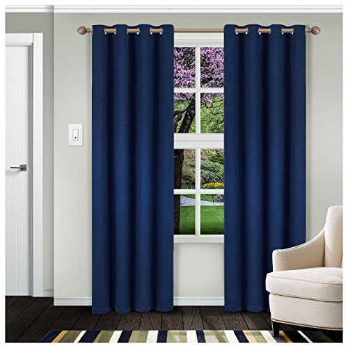 """(Superior Solid Blackout Curtain Set of 2, Thermal Insulated Panel Pair with Grommet Top Header, Elegant Solid Room Darkening Drapes, Available in 4 Lengths - Navy Blue, 52"""" x 84""""  each)"""