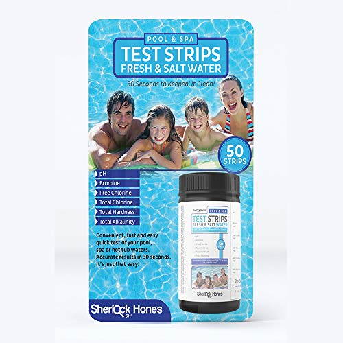 (Sherlock Hones Swimming Pool Test Strips - Hot Tub, Spa & Pool Fresh & Salt Water 6-n-1 Accurate Test Strips! Test Your pH, Bromine, Free Chlorine, Total Chlorine, Total Hardness, Total Alkalinity)