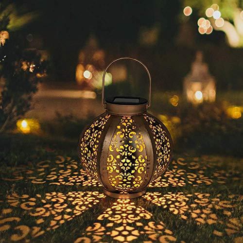 (Petrala Solar Lantern Outdoor Decorative Metal Retro Hanging Lanterns Lights 7 lumens Copper Brown with Handle for Garden Patio Christmas)