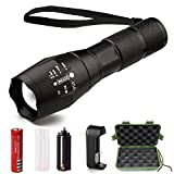 Akaho Super Bright LED Flashlight - Zoomable Adjustable Focus Torch - 5 Light Modes and Water Resistant - Rechargeable 18650 Lithium Ion Battery