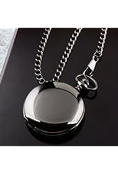 Kokuzo Mens Black Smooth Stainless Steel Case White Arabic Numbers Modern Pocket Watch