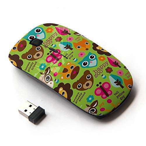 (Planetar Wireless 2.4G Computer Laptop Mouse Mice/Happy Animal Zoo Illustration)