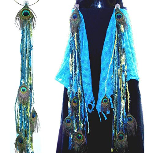 Hip & Hair Tassels MERMAID PEACOCK pair with $ 9 discount Tribal Fusion Belly Dance peacock feather yarn extensions Fantasy mermaid costume accessory Larp Cosplay costuming hair jewelry Belt adornment -