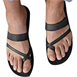 Fheaven Women Summer Slipper Casual Sandals Ankle Flat Strappy Gladiator T-Ring Flip Flops Shoes   (US:9, Black)