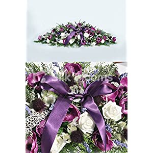 Plum Anemones Ivory Roses Heather Wedding Top Table Display 87