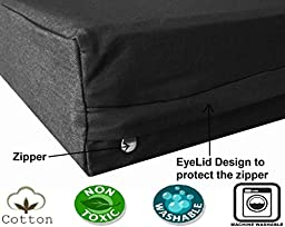 Dogbed4less Extra Large Orthopedic Memory Foam Dog Bed, Waterproof Liner with Durable Black Canvas Cover, XXL 55X37X4 Inch