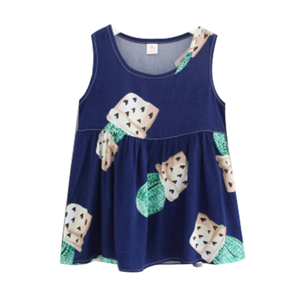 Koala Superstore [L] Kids' Pajama Home Nightdress Sleeveless Cotton Dress Vest Skirt for Girls