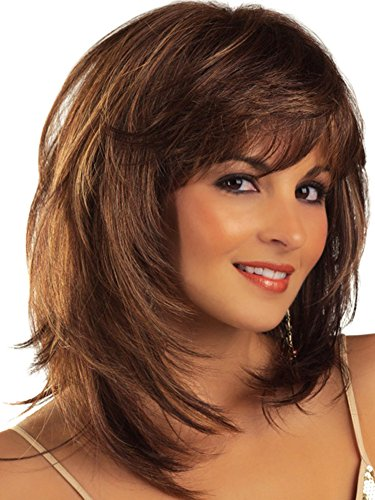 Length Bob Style Wig - Auflaund Fashion Bob Straight Neck Length Sleek Style Brown with Light Reddish Hair Wigs With Side Bangs for Women 17 Inches+ Wig Cap