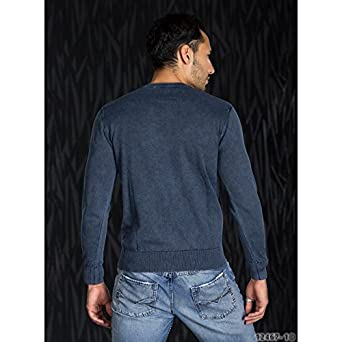 83606b2e3b22 Pomme Interdite – sexy pull manches longues Pull Homme Anthracite Bleu Gris  Beige hiver - Bleu
