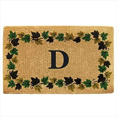 "Creative Accents Monogrammed F Wrought Iron Rubber Coir Mat with Half Round Olive Border, 22"" x 36"""