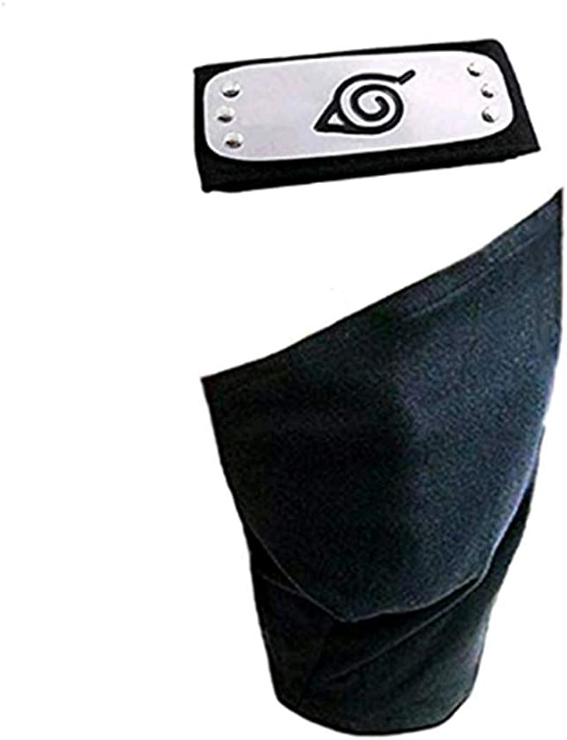 Leaf Village Shinobi Headband and Mask Ninja Kakashi Head Band Toy for Anime Cosplay Accessory (Black)