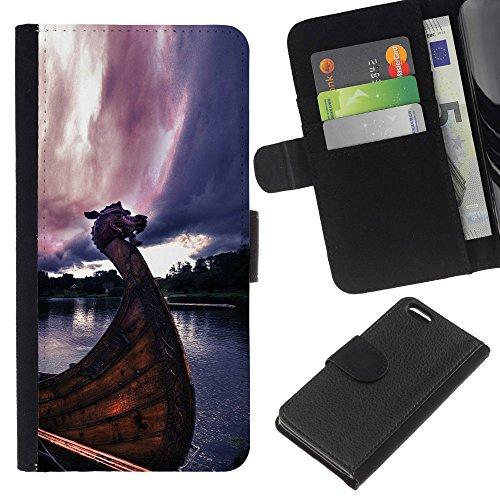 Funny Phone Case // Cuir Portefeuille Housse de protection Étui Leather Wallet Protective Case pour Apple Iphone 5C /Viking Ship/