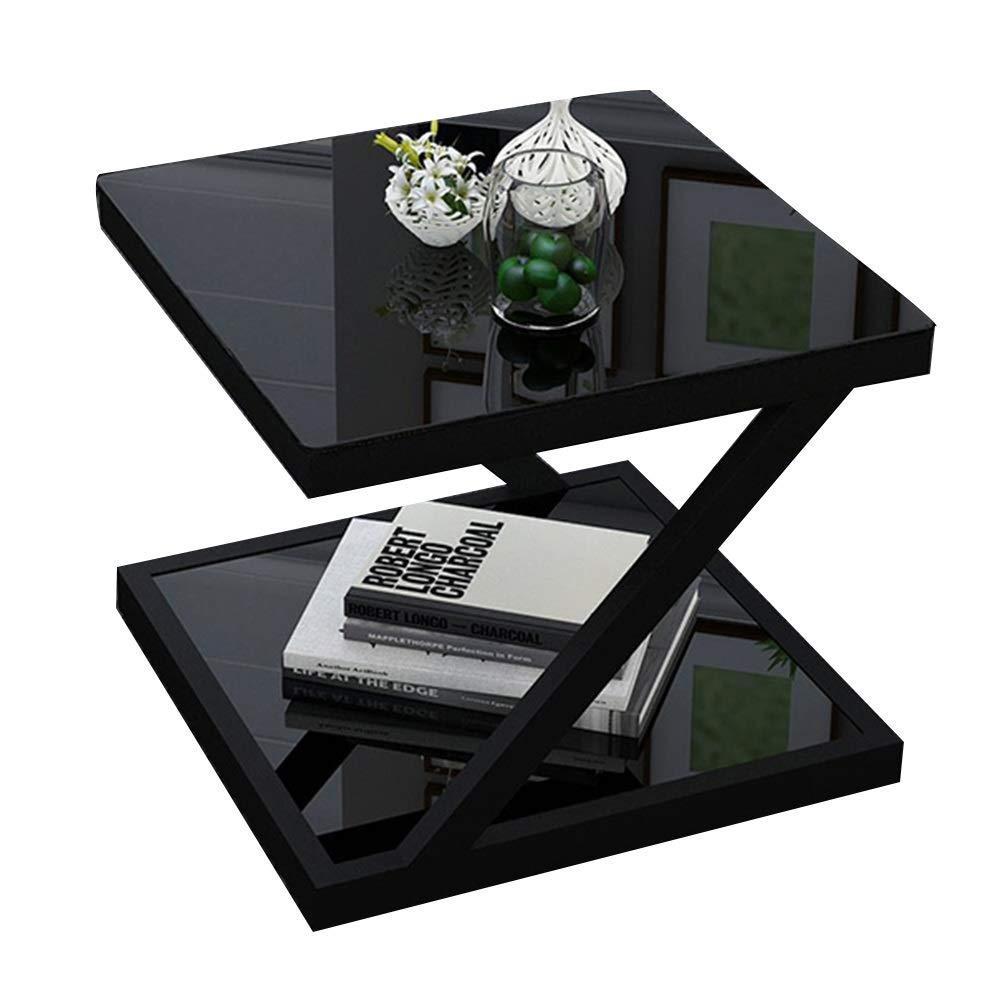 テーブル コーナーテーブル、Zタイプソファサイドテーブル二重層収納棚強化ガラスカウンター多機能小型コーヒーテーブル (色 : C, サイズ さいず : 50*50*50cm) 50*50*50cm C B07S8BNK4S