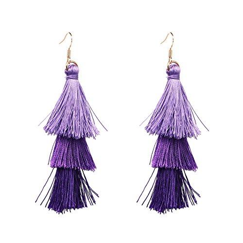Casual Earrings Purple (Women Natural Healing Crystal Stone Tassel Bohemian Colorful Drop Dangle Earrings (Romantic Purple))