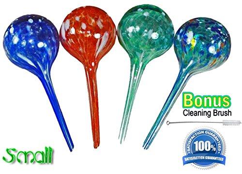 Plant Watering Globes Mini- 4pc Deluxe Set (Aqua Glass Ball)