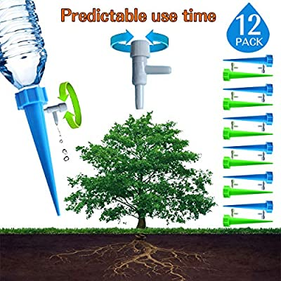 [Upgrade] Plant Waterer, EHIOG Automatic Drip Irrigation Self Watering Devices with Slow Release Control Valve Switch, Automatic Vacation Self Plant Watering Spikes Globes, Self Irrigation Watering Dr