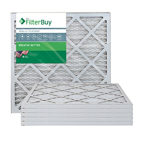 FilterBuy 20x20x1 MERV 13 Pleated AC Furnace Air Filter, (Pack of 6 Filters), 20x20x1 – Platinum from FilterBuy