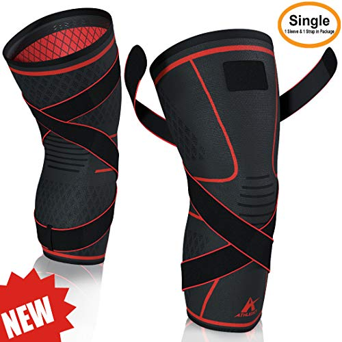 Knee Brace Compression Sleeve with Strap for Best Support & Pain Relief for Meniscus Tear, Arthritis, Running, Basketball, MCL, Crossfit, Jogging, Post Surgery Recovery for Men & Women by Athledict XL
