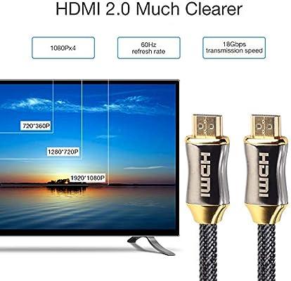 Taurusb 4K UHD 10M HDMI 2.0B Cable, Cable HDMI 4K Ultra HD 60 HZ Macho A Macho Chapado En Oro Conjunto Trenzado De Cable para TV De Alta Definición El Proyector HDMI