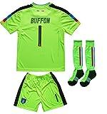 FCW 2018 Italy Home #1 Gianluigi BUFFON Football Futbol Soccer Kids Goalkeeper Jersey Shorts Socks Set Youth Sizes (Neon, 10-11 YEARS)