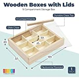 Small Unfinished Wood Box with Lid, 9 Compartment