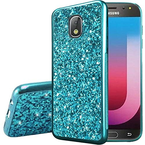 Insten Frozen Glitter Chrome Hard Snap-in Case Cover Compatible with Samsung Galaxy J7 (2018), Blue (Blue Hard Case Snap)