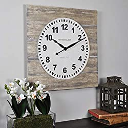 FirsTime & Co. 31067 Jackson Square Wall Clock, 15.5, Natural Wood
