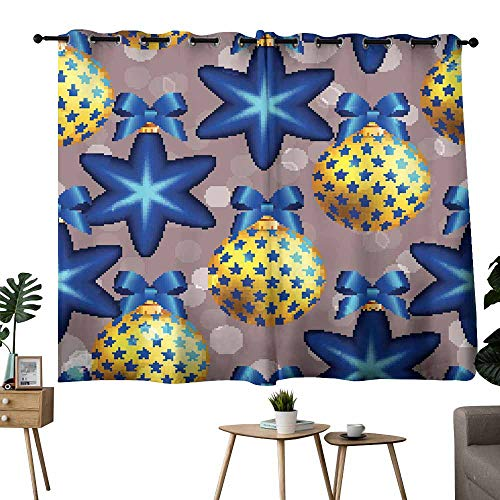 Mannwarehouse Polyester Curtain New Year Pattern with Ball Christmas Wallpaper with Bow Privacy Protection 72