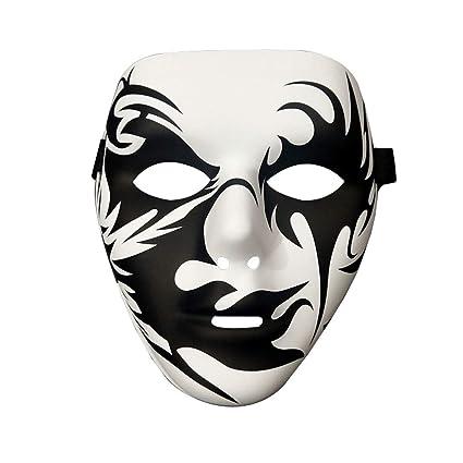 Máscaras- Halloween Street Dance Graffiti Masquerade Ghost Mask Patrón de impresión de Seda Verde PVC