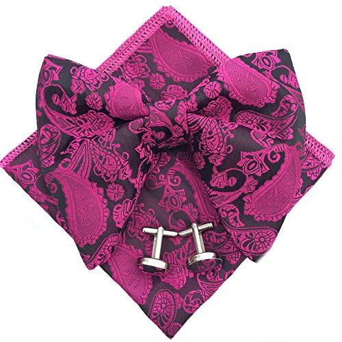 Mens Pre-Tied Paisley Bowtie Oversized Tuxedo Bow Tie Hankie Cufflinks Set (Hot Pink)