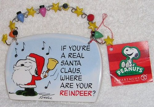 2008 Peanuts Snoopy Christmas Holiday Ceramic Plaque by Department 56
