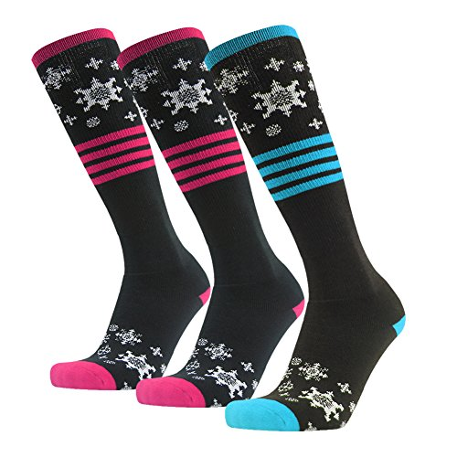Gmark Women's Performance Crew Socks Bundle With Cute Colorful Pattern For Birthday,One Size,3 Packs-Blue + Rose Red + Rose Red