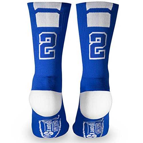 Custom Team Number Crew Socks   Athletic Socks by ChalkTalkSPORTS   Blue   22