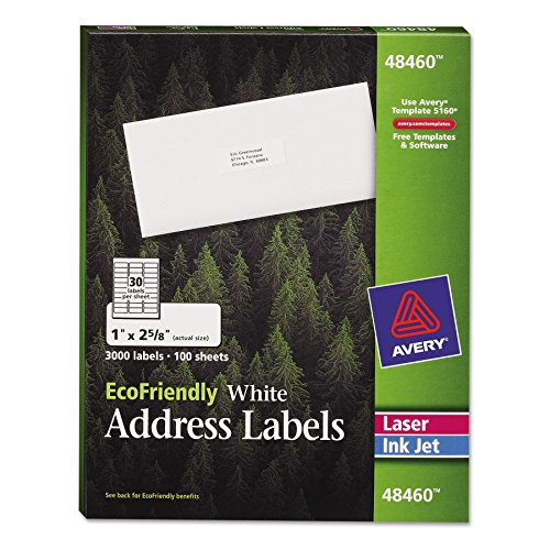 amazon com avery white ecofriendly address labels 1 x 2 625