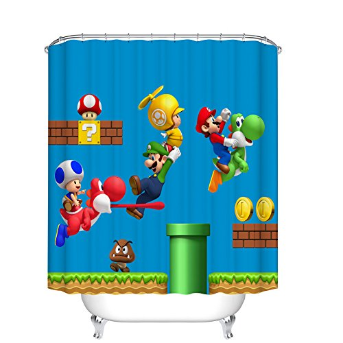 Fangkun Children's Cartoon Shower Curtain Art Bathroom Decor - Waterproof Polyester Fabric Bath Curtains Set - 12pcs Shower Hooks - 72 x 72 inches (Curtain Shower Kids)