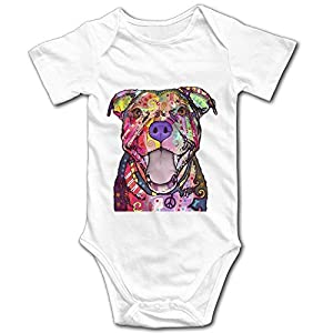 TENGBOKY Cute Colorful Pit Bull Dog Unisex Baby Onesies Baby Bodysuit