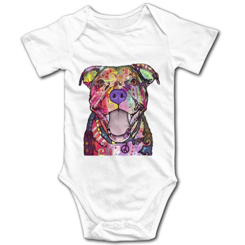 TENGBOKY Cute Colorful Pit Bull Dog Design Unisex Baby Onesies Infant Creeper Baby Bodysuit