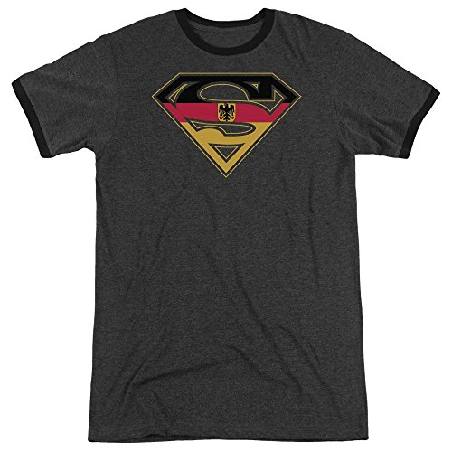 Superman German Shield Unisex Adult Ringer T Shirt for Men and Women, X-Large Charcoal