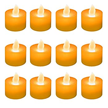 LumaBase 80612 12 Count Battery Operated Tea Lights, Orange
