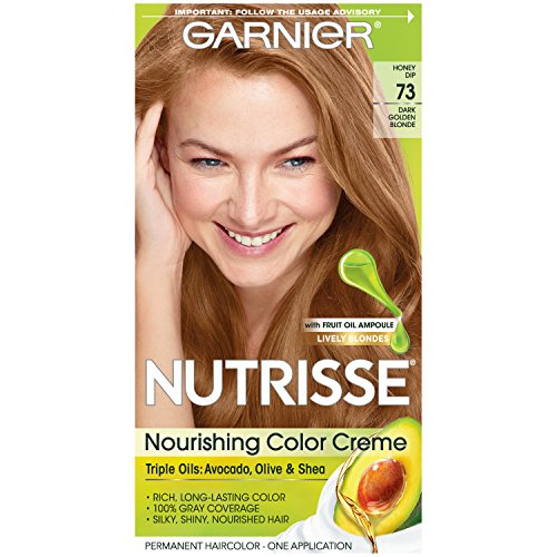 Garnier Nutrisse Nourishing Hair Color Creme, 73 Dark Golden Blonde (Honey Dip)  (Packaging May Vary)